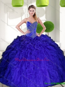 Puffy Peacock Blue Sweetheart Beading Ball Gown Quinceanera Dress with Ruffles