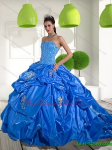 Romantic Beading and Appliques Quinceanera Dresses with Brush Train