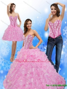 Romantic Beading and Ruffles Sweetheart 2015 Quinceanera Dresses