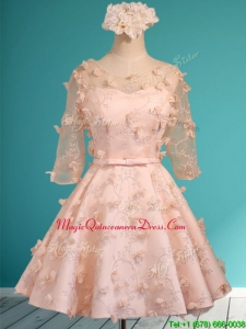 Wonderful Applique and Belted Scoop Short Dama Dress in Peach