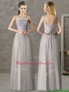 Cheap See Through Scoop Grey Long Dama Dress with Appliques