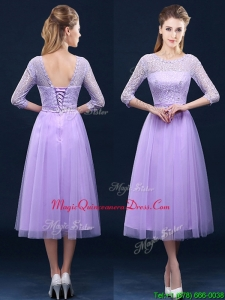 Latest Half Sleeves Tea Length Laced Dama Dress in Lavender