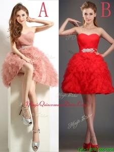 Lovely Beaded and Ruffled Puffy Skirt Dama Dress in Tulle