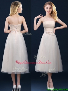 Low Price Strapless Belt Champagne Long Dama Dress in Tulle