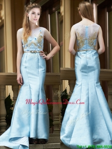 Modest Mermaid Applique Brush Train Dama Dress in Light Blue