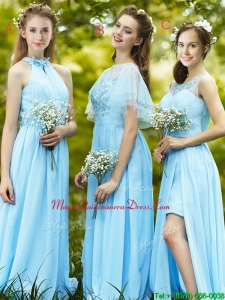 Modest Light Blue Empire Long Dama Dress with Appliques