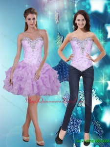 2015 Cheap Sweetheart Short Dama Dress with Beading and Ruffles