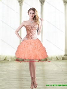 2015 Classical Short Peach Dama Dress with Beading and Pick Ups