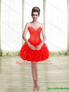 2015 Cute Appliques and Ruffles Red Dama Dress