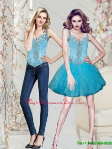 2015 Detachable Beading and Ruffles Aqua Blue Dama Dres
