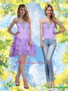 Exquisite 2015 Short Sweetheart Dama Dress with Beading and Ruffles