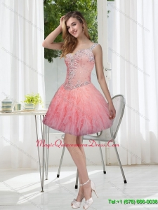 Exquisite Beading and Ruffles Watermelon Dama Dresses for 2015