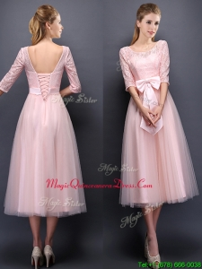 Most Popular Scoop Half Sleeves Baby Pink Dama Dress with Bowknot