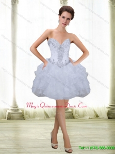 Perfect Short Beading and Ruffles White 2015 Dama Dress with Sweetheart