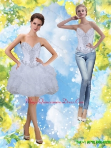 Popular Beading and Ruffles Sweetheart Dama Dress in White for 2015