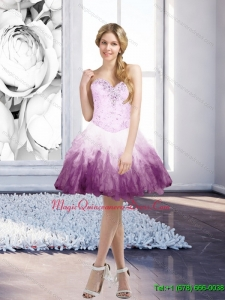 Romantic Multi Color Short Dama Dress with Beading and Ruffles for 2015