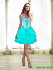 2015 Discount Beading and Ruffles Aqua Blue Dama Dress with Sweetheart
