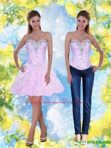 2015 Discount Knee Length Beading and Ruffles Sweetheart Dama Dress
