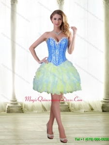 Discount 2015 Beading and Ruffles Short Dama Dress with Sweetheart