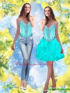 Discount 2015 Beading and Ruffles Sweetheart Aqua Blue Dama Dress