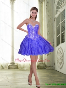 Discount Beading and Ruffles Short Lavender 2015 Dama Dress