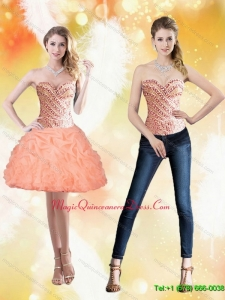 Discount Sweetheart Short Peach 2015 Dama Dress with Beading and Pick Ups