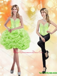 Discount Sweetheart Short Rolling Flowers 2015 Spring Green Dama Dress