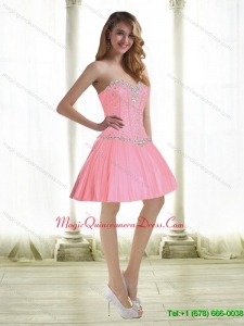 Exquisite Beading Dama Dresses in Baby Pink for 2015