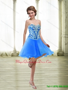 Fashionable Short Embroidery Royal Blue Dama Dresses for 2015
