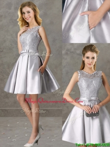 Classical Laced and Bowknot Scoop Dama Dress in Silver