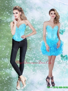 Discount Beading and Ruffles Baby Blue 2015 Dama Dress with Sweetheart