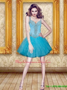 Discount Beading and Ruffles Dama Dress in Aqua Blue