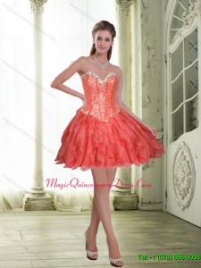 Discount Short Beading and Ruffles Coral Red Dama Dress for 2015