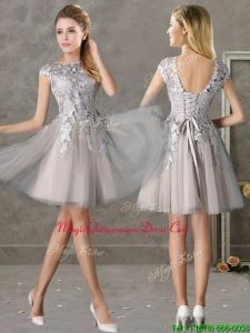 Most Popular Bateau Cap Sleeves Grey Dama Dress with Lace
