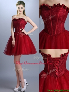 New Arrivals Laced Mini Length Dama Dress in Wine Red