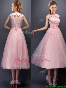 Discount Hand Made Flowers and Laced High Neck Dama Dress in Baby Pink