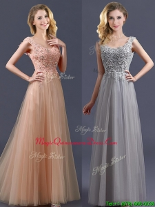 New Arrivals Empire Floor Length Dama Dresses with Appliques