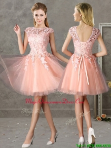 New Style Bateau Peach Short Dama Dresses with Lace