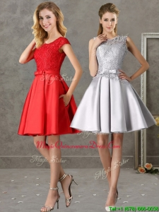 Popular Scoop Cap Sleeves Dama Dresses with Bowknot and Lace