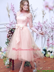 See Through High Neck Half Sleeves Dama Dress with Bowknot