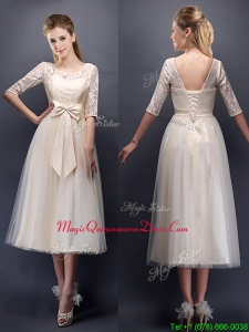 See Through Scoop Half Sleeves Champagne Dama Dress with Bowknot