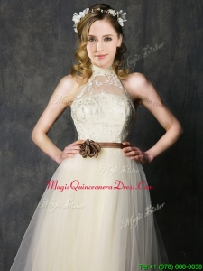 Sweet High Neck Champagne Dama Dresses with Hand Made Flowers and Lace