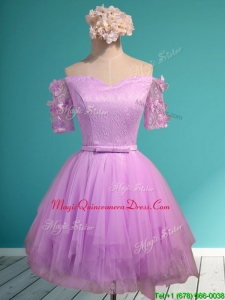 Sweet Lilac Off the Shoulder Short Sleeves Dama Dresses with Appliques and Belt