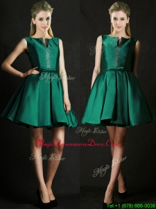 Classical A Line Green Short Dama Dresses with Beading and Belt