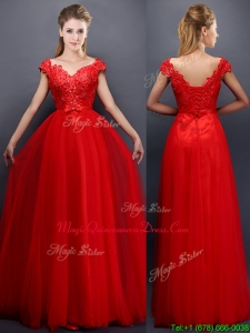 Classical Beaded V Neck Red Dama Dresses with Cap Sleeves