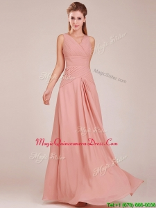 Modest Ruched Decorated Bodice Peach Dama Dresses with V Neck