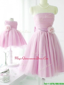 New Arrivals Strapless Baby Pink Dama Dresses with Handcrafted Flower