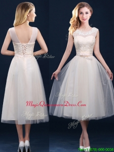 Best Selling See Through Champagne Dama Dresses with Appliques and Belt