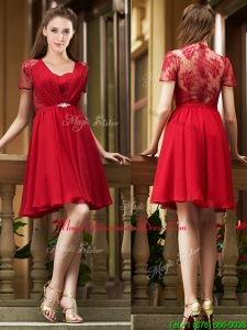 Elegant See Through Back Red Short Dama Dresses with Short Sleeves