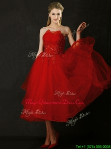 Elegant Tea Length Applique Red Dama Dresses with Asymmetrical Neckline